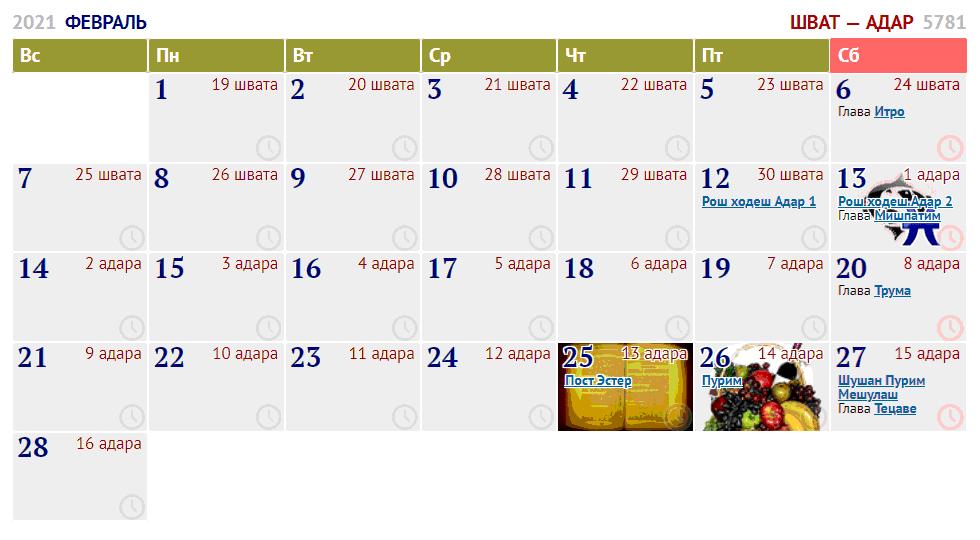 февраль / шват — адар I