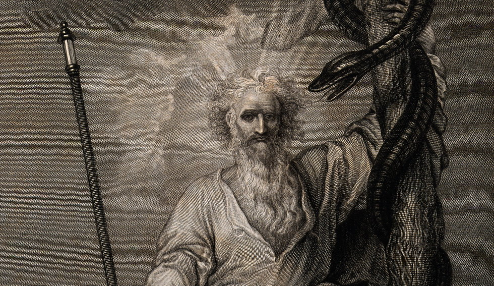 Moses with his rod and his brazen serpent. Engraving by J. H Credit: Wellcome Library, London.