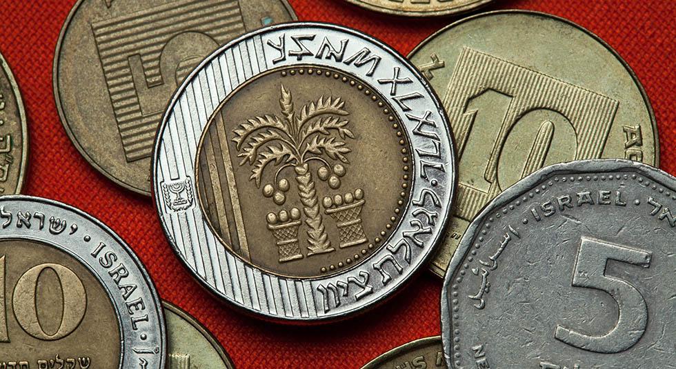 Монеты Израиля. Пальмы с семью листьями и две корзины изображены на новой израильской монете ценностью в десять шекелей.