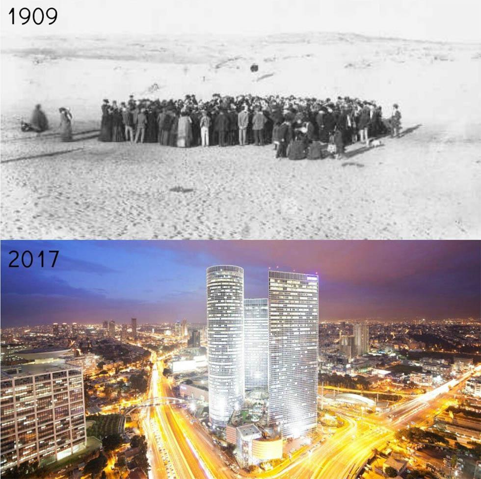 Тель-Авив в 1909 году, когда он был основан, и Тель-Авив сегодня. (credit to Hananya Naftali)