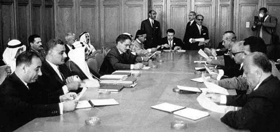 """Саммит лиги арабских государств в 1964 году, на котором была создала ООП для """"освобождения"""" Палестины."""