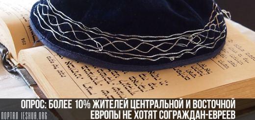 Опрос: более 10% жителей Центральной и Восточной Европы не хотят сограждан-евреев