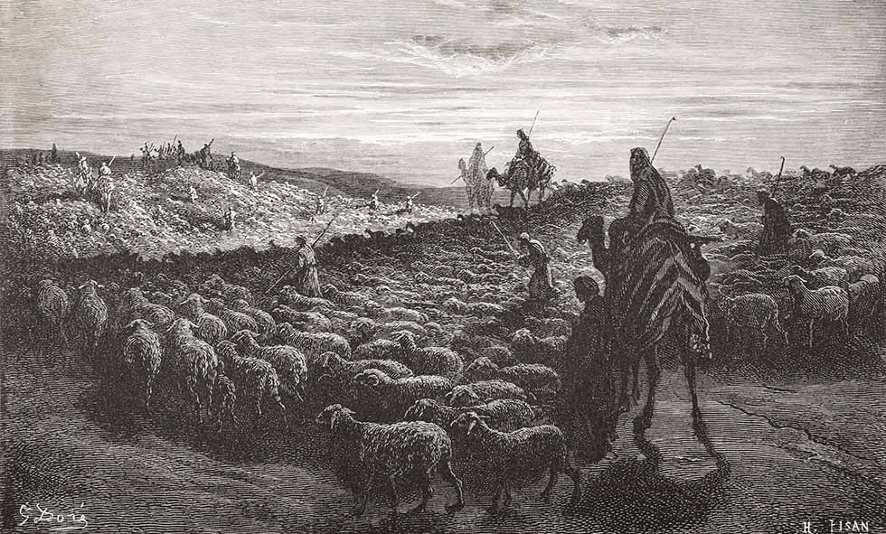 Engraving From The Dore Bible Illustrating Genesis Xiii 1 To 4 Abraham Journeying Into The Land Of Canaan By Gustave Dore 1832-1883 French Artist And Illustrator