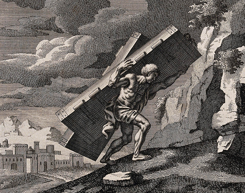 Wellcome Library, London. Wellcome Images images@wellcome.ac.uk http://wellcomeimages.org Samson carries the gates of Gaza up to the mount of Hebron. Etching by J. Taylor after F. Verdier, 1698. By: Francois Verdierafter: James Taylor