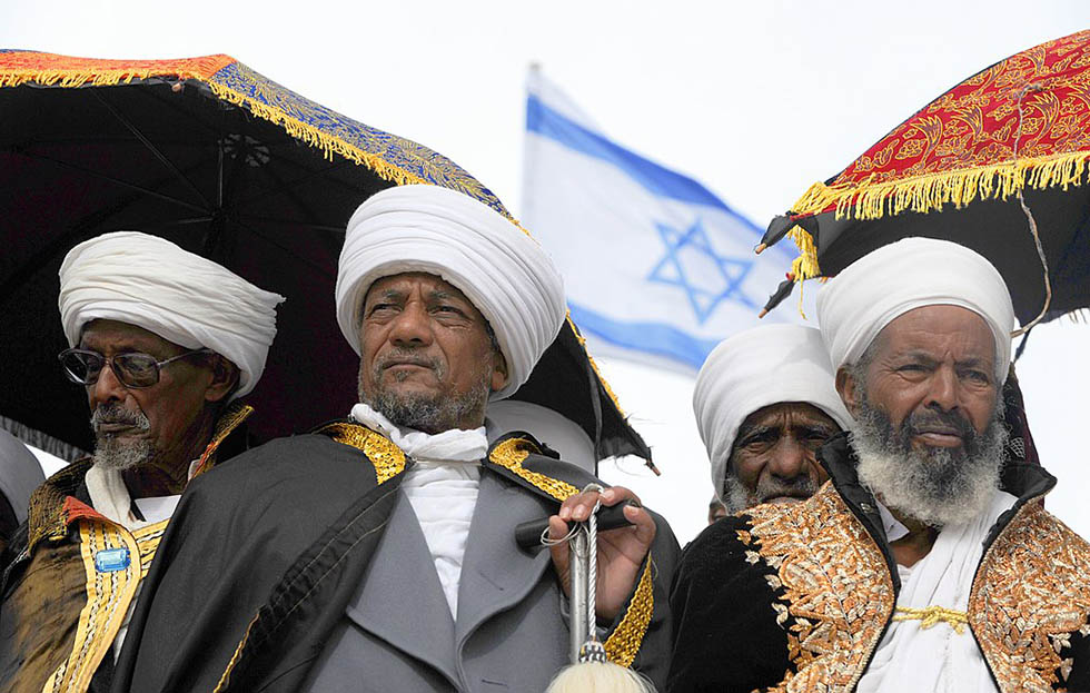 photo - Mark Neyman / Government Press Office (Israel) / Ethiopian Jews Sigad Holiday. In the photo Ethiopian Kessim celebrate at the promenade near Armon Ha'Natziv in Jerusalem (2009).