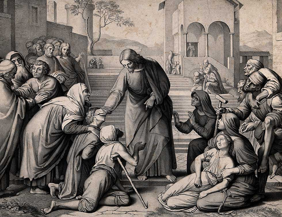 V0034927 The sick come to Christ on his travels. Lithograph by M. Fan