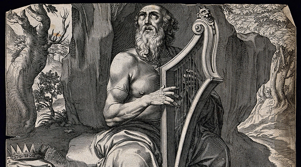 An aging David strums his harp, reciting psalms. Engraving / Credit: Wellcome Library, London. Wellcome Images / images@wellcome.ac.uk http://wellcomeimages.org