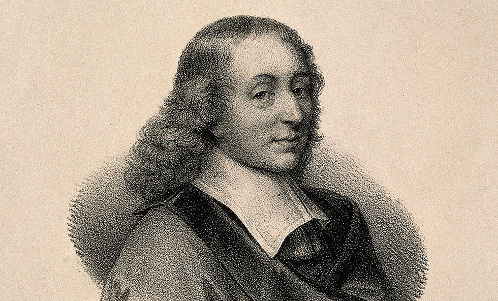 V0004512 Blaise Pascal. Lithograph after G. Edelinck after F. Quesnel