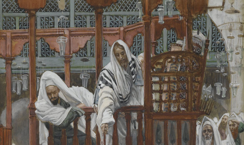 James Tissot (French, 1836-1902). The Possessed Man in the Synagogue (Le possédé dans la Synagogue), 1886-1894. Brooklyn Museum