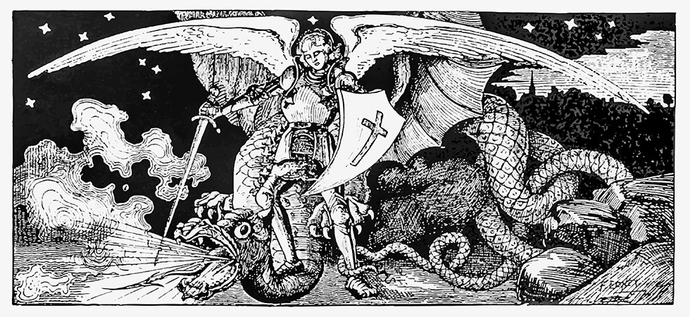 Archangel fighting a monster