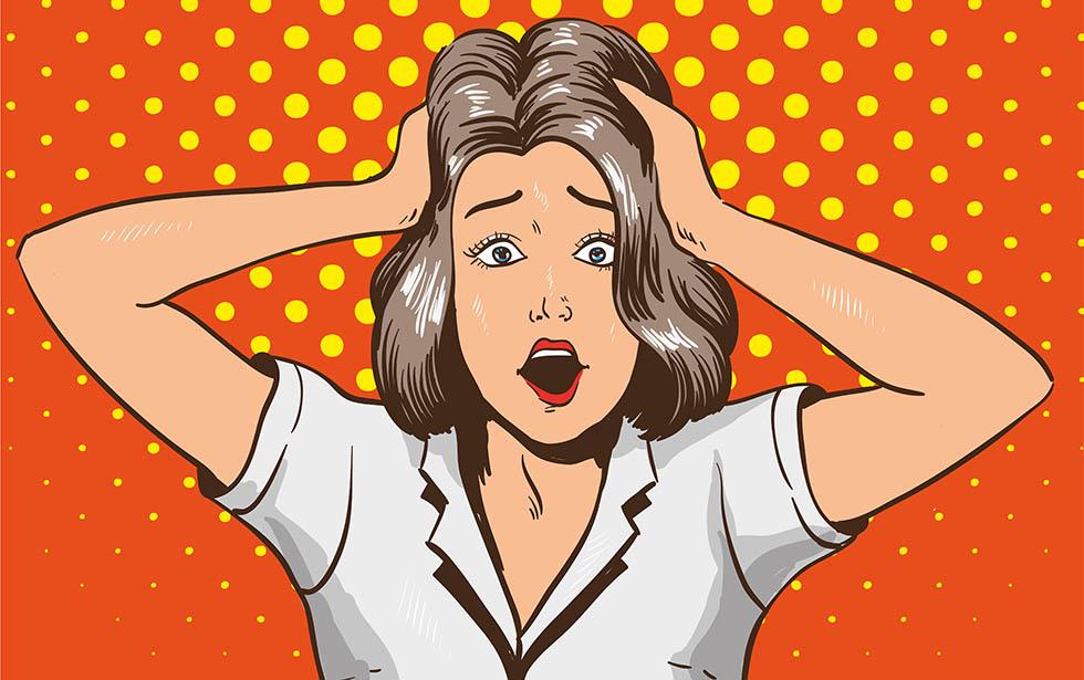 Woman in panic. Vector illustration in pop art retro style. Stressed girl in shock grabs her head in hands
