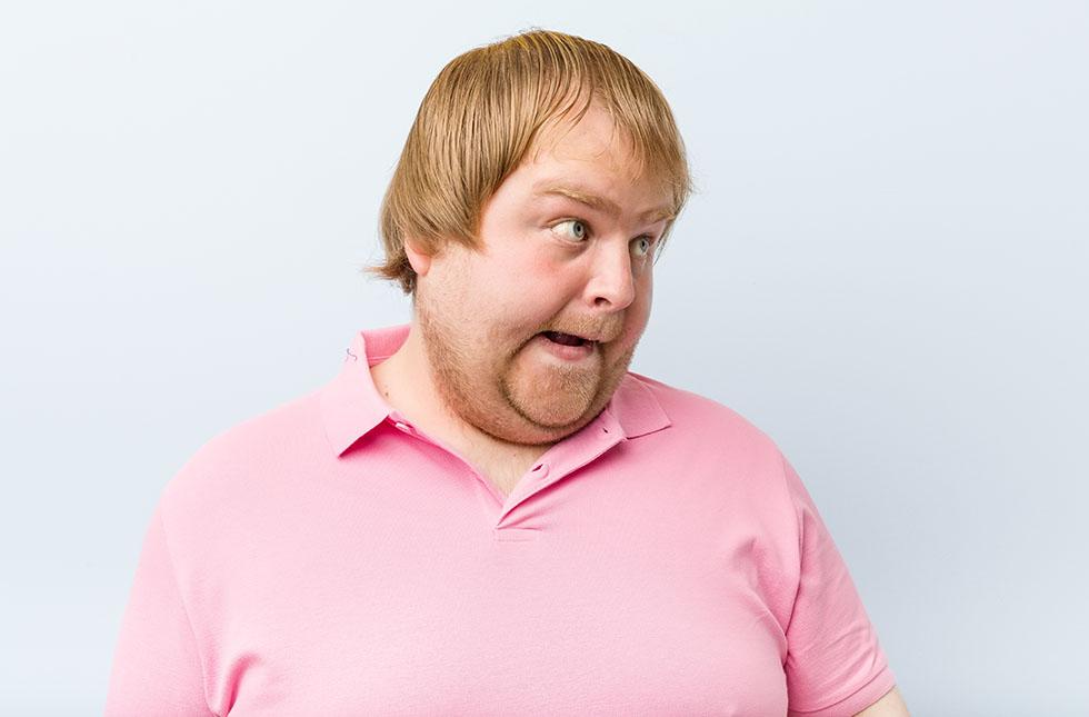 Caucasian crazy blond fat man
