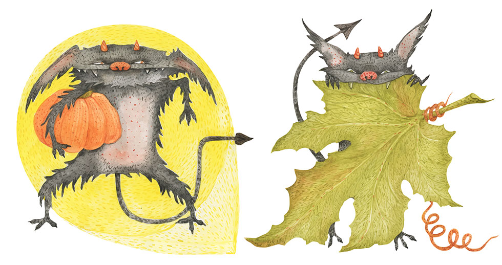 The Little Furry Devils steal a pumpkins