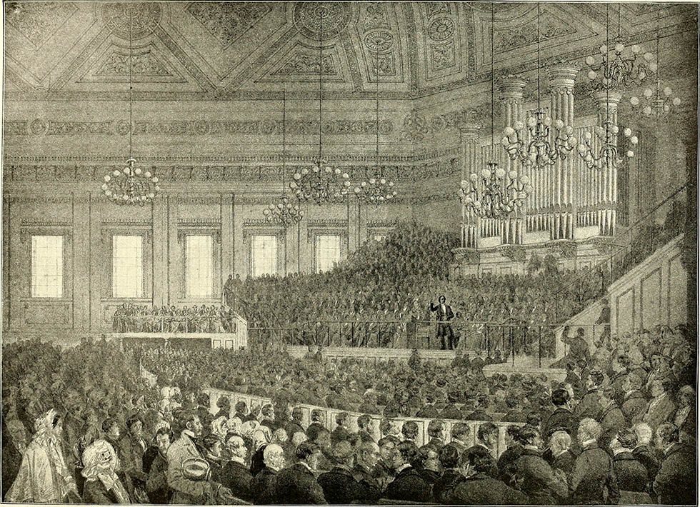Собрание церкви во время проповеди Чарльза Сперджена