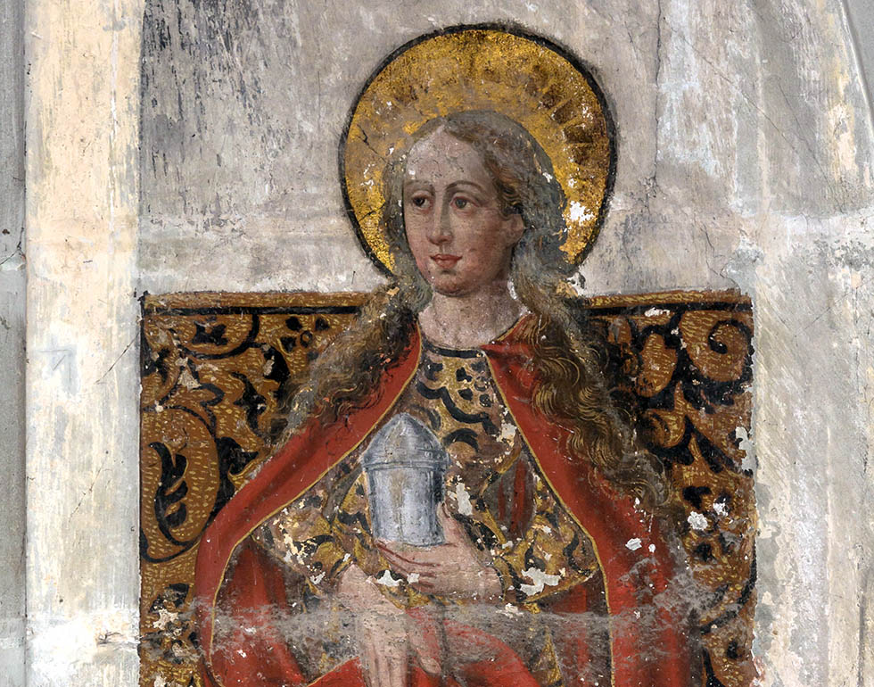 Photo - Uoaei1 / Mary Magdalene – Fresco in Saint Sylvester's Chapel of Konstanz Minster, Konstanz, Baden-Württemberg, Germany. Anonymous master, dated 1584.