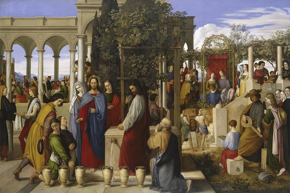 Иисус превращает воду в вино