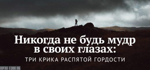 Никогда не будь мудр в своих глазах: три крика распятой гордости