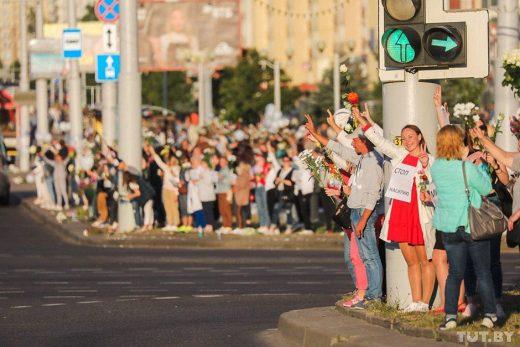 «Цепь солидарности» длиной около 5 км выстроилась в Минске